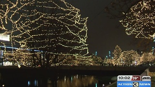 Gene Leahy Mall illuminated for holiday season - Video