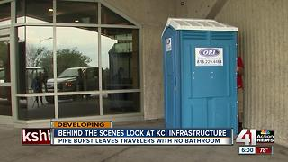 Water main break near KCI affects airport bathrooms - Video