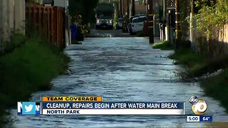 Cleanup, repairs begin after water main break
