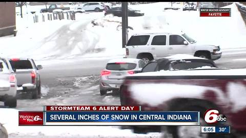 Several inches of snow in central Indiana on March 24