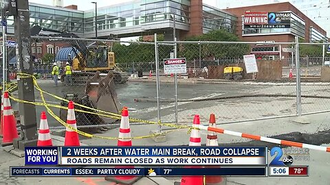 Two weeks after water main break, road collapse