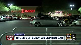 Woman arrested after leaving kids in hot car to get coffee - Video