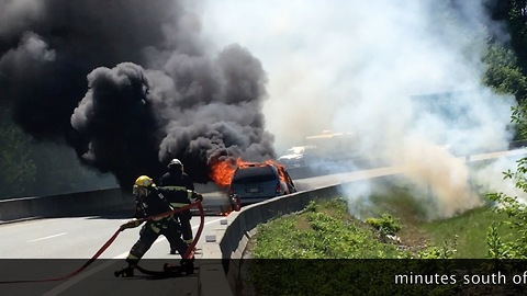 Car on fire causes major traffic jam