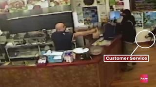 Surveillance footage caught the most epic armed robbery fail ever | Rare News - Video