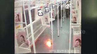 Portable phone charger explodes on train - Video