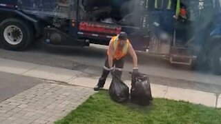 Kid pranks garbage man