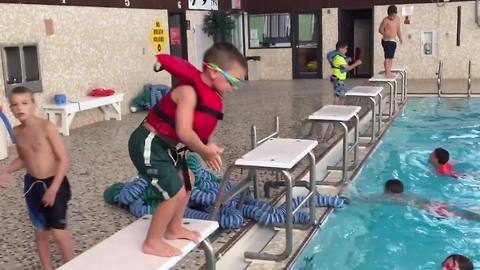 Little Boy Goes For A Pool Dive But Belly Flops Instead