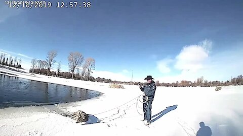 Deer stuck in frozen lake rescued by police officer with lasso