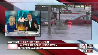 Dangerous flash flooding shuts down KC metro roads, carries vehicles off roadways - Video