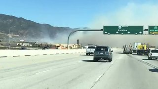 Smoke Billows Over Rancho Cucamonga Freeway as Brush Fire Spreads - Video