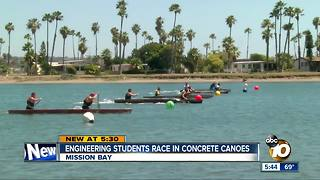 Engineering students race concrete canoes - Video