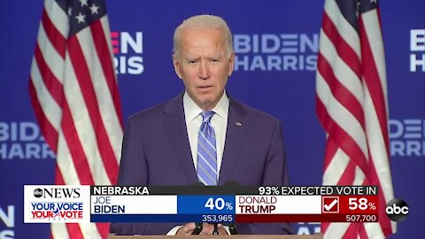 Joe Biden speaks as states continue to count ballots