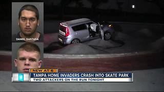 Home invaders crash stolen car into skate park - Video