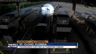 Video shows passenger ejected in turnpike crash