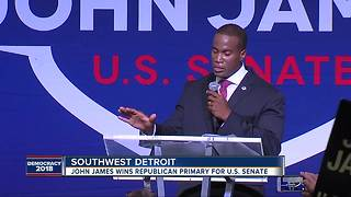 John James wins Republican nod for US Senate, will face Debbie Stabenow - Video