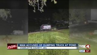 Man arrested after truck sinks in Charlotte County pond
