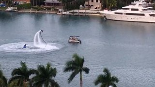 Man on water-powered jetpack performs for cruise ship passengers