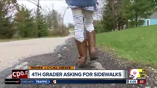 City leaders gather to take Madelyn's walk to school -- without a sidewalk - Video