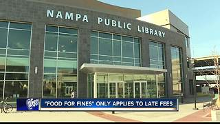 Food for fines at Nampa Public Library - Video