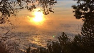 Sea Smoke Rises from Lake Superior in Frigid Minnesota - Video
