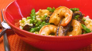 Shrimp, Mushrooms, and Asparagus Stir-Fry with Couscous - Video