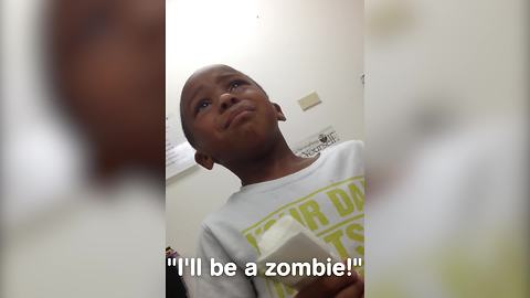 Kid Gets Scared Of Turing Into A Zombie