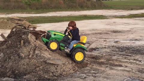 Tot Boy Tries To Ride His Toy Truck As A Monster Truck