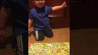 Little Boy Is Excited For His Dino Vacation - Video