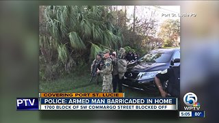 Port St. Lucie police on scene of man barricaded in a home