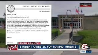 Student arrested after making verbal threat against Rushville Consolidated High School