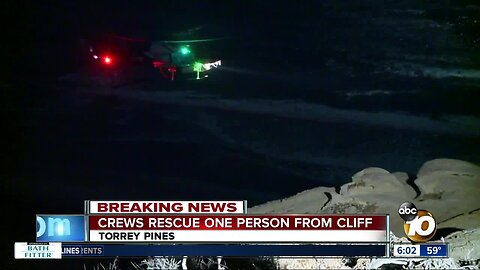 One person rescued from cliff in Torrey Pines