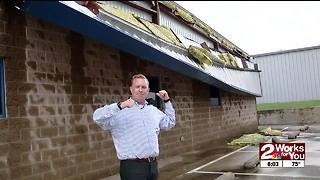 Straight-line winds damage billboards, buildings east of Tulsa International Airport - Video