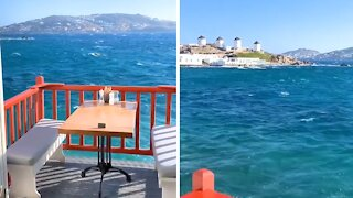 Restaurant in Mykonos, Greece allows for jaw-dropping views