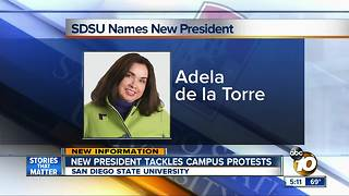 New SDSU President tackles campus protests - Video