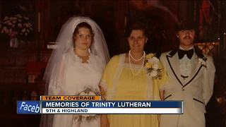 Parishioners fight back tears after historic Trinity Lutheran church burns - Video