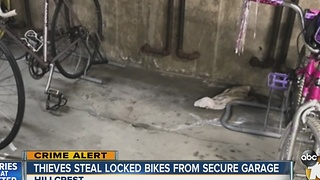 Thieves steal locked bikes from secure garage - Video