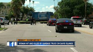 Woman hit, killed by garbage truck on Davis Islands, TPD investigating - Video