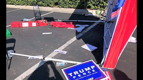 Van drives through pro-Trump Republican voter registration tent in Jacksonville