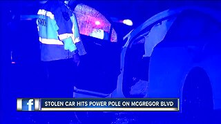 Stolen car crashes into power pole in Fort Myers