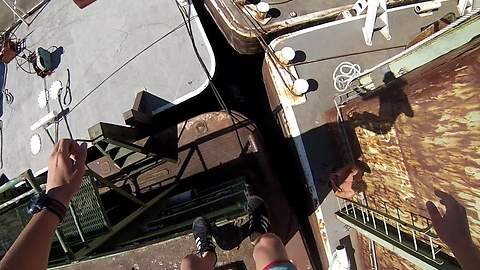 Daredevil Makes A Daring Jump In The Slit Between Old Ships