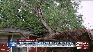 Tornado uproots tree, sends it slamming into home - Video