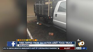 Tires ripped from Salvation Army food truck