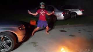 Guys Play Intense Game of Flaming Basketball - Video