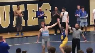 High-school wrestler with Down syndrome at district tournament