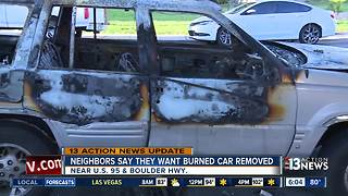 Las Vegas residents still waiting for burned car to be removed from their neighborhood - Video