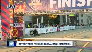 At the finish line for the Detroit Free Press/Chemical Bank Marathon - Video