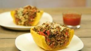 Turkey & Kale-Stuffed Spaghetti Squash with Savory Tomato Sauce - Video