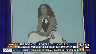 Baltimore artist's painting of Michelle Obama unveiled at the National Portrait Gallery - Video