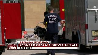 Milwaukee Hazmat investigating suspicious envelope mailed to Oak Creek Police - Video