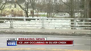 Ice jam occurring in Silver Creek